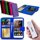 For HTC Desire 400 dual sim - Clip On PU Leather Wallet Case & Powerbank