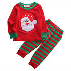 2pcs Toddler Baby Girls Kids Christmas Tops+Striped Long Pant Outfit Clothes Set