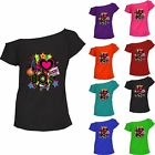 I Love The 80s Top Ladies T-shirt Pop Star Retro Off Shoulder Party Tee Lot