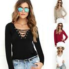 Womens Lace Up V-Neck T-Shirt Blouse Casual Long Sleeve Tops Plus Size UK 6-24