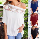 Wmens Off Shoulder Lace Blouse T-Shirt Ladies Summer Beach Casual Loose Top 6-16