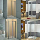 Bifold Shower Enclosure Walk in Glass Door Screen Panel Tray Waste Save Space