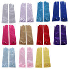 Внешний вид - Kids Girls Long Gloves Bow Knot Prom Finger Satin Elbow Costume Princess Sleeves