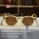 Vintage sunglasses artists eyeglass crystal yellow frame brown polarized lens