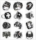 Vintage Stainless Steel Punk Rings Gothic Rock Biker Mens Charm Silver Jewelry