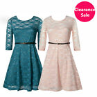 Sexy Skirt Lace Skater Swing Dress Spoon Neck 3/4 Sleeve Clearance Sale UK6-8