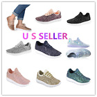 ROXY Remy-18 Women&Kids Jogger Sneaker-Lightweight Glitter Quilted Lace Up Shoes