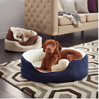 Orthopedic Pet Bed Dog Oval Suede Removable Washable Cover Water-Resistant