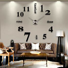 US Modern DIY Large Wall Clock 3D Mirror Surface Sticker Home Office Hotel Decor