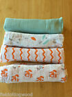 New ADEN AND ANAIS Swaddle Muslin Cotton Blanket Fox Zigzag baby