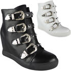 Womens Buckle Ankle Boots Ladies Studded Straps Sneakers Hidden Wedge Shoes Size