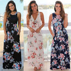 US STOCK Lady Beach Maxi Dress Long Evening Party Cocktail Prom Floral Summer
