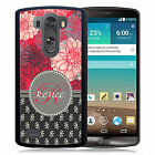 PERSONALIZED RUBBER CASE FOR LG G3 G4 G5 RED GRAY TAN FLOWERS