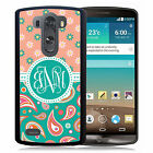 MONOGRAMMED RUBBER CASE FOR LG G3 G4 G5 TEAL PAISLEY FLOWERS