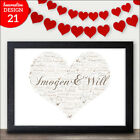 Personalised Heart Word Art Valentines Day Present for Her Him I Love you Gift