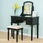 Make up Vanity Wood Table Set with Mirror and Stool Set Harper Bright Designs