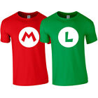MARIO Red LUIGI Green Tshirt Tee Top Super Brothers Gaming Retro Adults Kids NEW