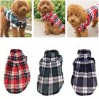 Small Dog Pet Puppy Plaid T Shirt Flannel Coat Jacket Clothes Costume Top