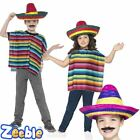 Poncho + Sombrero Mexican Kids Fancy Dress Wild Western Childs Kids Costume New