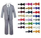 6pc New Born Baby Boy Teen Formal Party Suit w/Satin Bow Tie Medium Gray 2T-20
