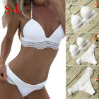 Women Sexy White lace Push-up Padded Lace Bikini Set Bathing Swimwear Swimsuit