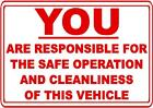 CAR SAFETY CLEANLINESS DECAL SAFETY SIGN STICKER OSHA TRUCK CAR RENTAL