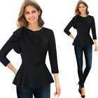 Women Elegant 3/4 Ruffle Sleeve Ruched Peplum Work Casual Party Shirt Top Blouse