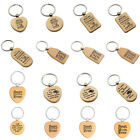 Unisex Natural Wood Engraved Key Fob Keychain Ring Anniversary Birthday Gifts