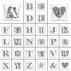 "Vintage Graphic Alphabet Cushion Cover 18x18"" Sofa Decorative Decor Pillow"
