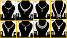 White Pearl Ruby Emerald Blue Golden American Cut AD Necklace Set Valentine Gift