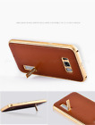 iMATCH Alu Rahmen Echtleder Backcover Case Stand f Galaxy Note 8 S7 Edge S8 Plus