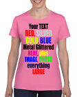 METAL GLITTERED TEXT Ladies Fit t-shirt Personalized Hen, Birthday Party DTG