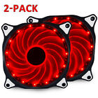 2-Pack 120mm 15 LED PC CPU Computer Case Cooling Neon Quite Clear Fan Mod cooler