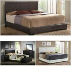 Upholstered Bed frame w headboard footboard leather Platform full queen king NEW
