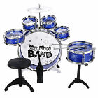 Children Kid Toy Drum Set Kit 6 Drum With Cymbal Stool Sticks Musical Toy Gift