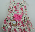 Kinder Spanish Style Ivory/Rose Pink Drop Waist Floral Dress - from 3 mts-4yrs