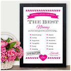AWARD for Best NANNY NANA NAN GRANNY GRAN Mothers Day Gifts Birthday Christmas