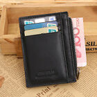 Mens PU Leather Slim Zip Wallet Clutch Credit ID Card Holder Coin Long Pur Udww