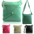 Women Cross Body Bag Medium Faux Leather Ladies Girl Shoulder Handbag Zip Tassel