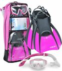 Aqua Lung Diva LX Mask, Island Dry Snorkel, Trek Fin, Travel Bag, Snorkel Set