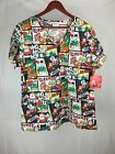 Womens V-Neck Christmas Rudolph the Red-Nosed Reindeer Comic Scrub Top BRAND NEW