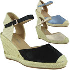 Womens Summer Wedges Ladies Espadrilles Buckle Comfy High Heel Wedge Shoes Size
