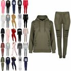 Womens Ladies Laser Cut Out Jogger Hooded Overhead Long Sleeve Cuffed Track Suit