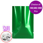 Green Silver Flat Foil Open Top Pouch Bag 1.5x2.25in w/ Silica Gel Desiccant G01