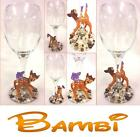 """Pearl Decorated  Wine Glass With Disney's """"BAMBI"""" Figure's ~ Can be personalised"""