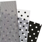 """Assorted Black White Polka Dot Stripe Tissue Paper Gift Wrapping 20""""x30"""" Sheets"""