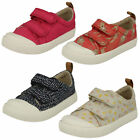 GIRLS CLARKS HALCY HATI CORAL COMBI RIP TAPE CANVAS SHOE 2018