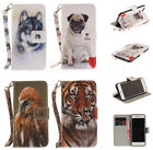 PU Leather Wallet Case Folio Flip Cover Stand Card Slot for Phones Animal