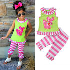 Floral Kids Baby Girl Outfit Clothes T-shirt Long Tops Dress+Pants Set US