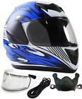 Youth Kids Snowmobile Helmet Blue DOT Small Medium Large XL